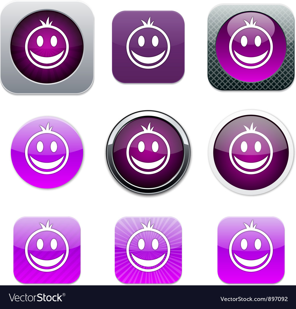 Smiley purple app icons vector | Price: 1 Credit (USD $1)