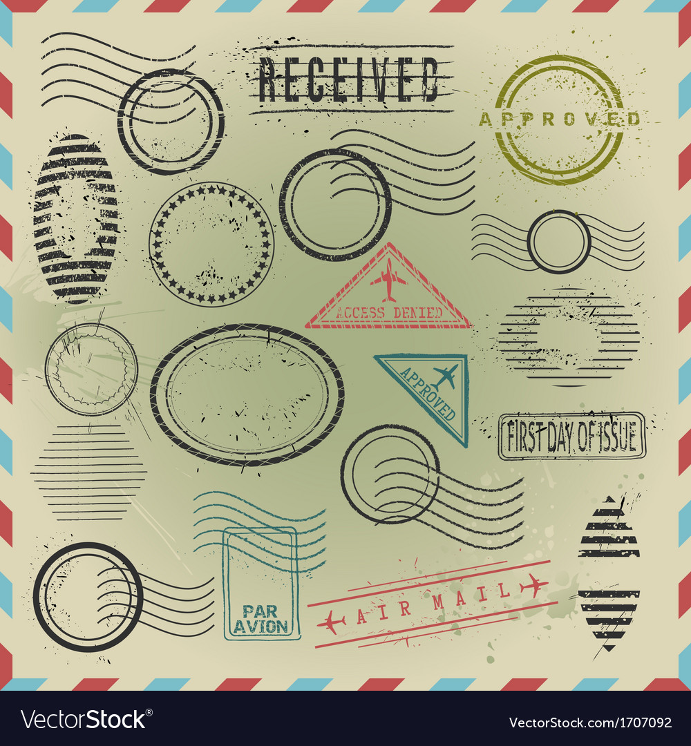 Vintage postage stamps collection vector | Price: 1 Credit (USD $1)