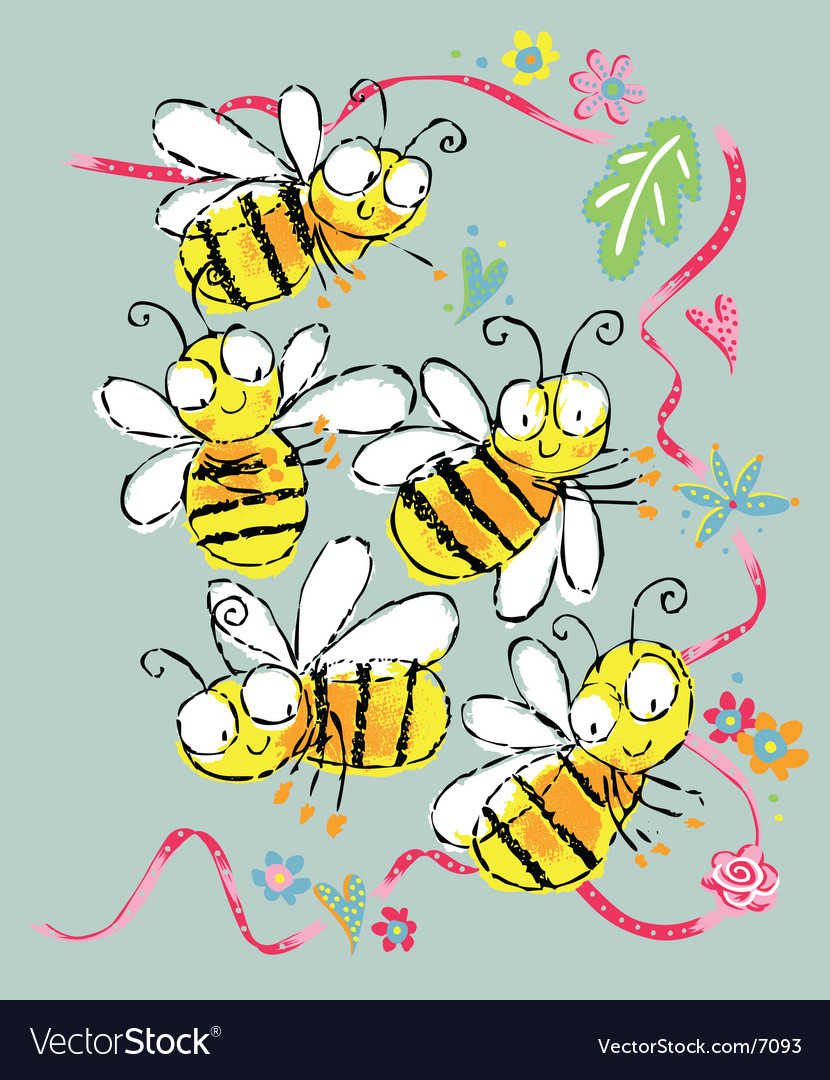 Amusing bees vector | Price: 1 Credit (USD $1)