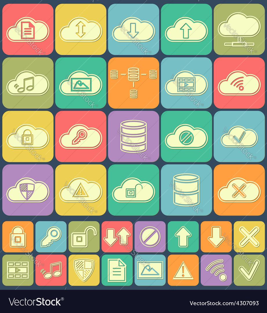 Cloud storage data analysis database network vector | Price: 1 Credit (USD $1)