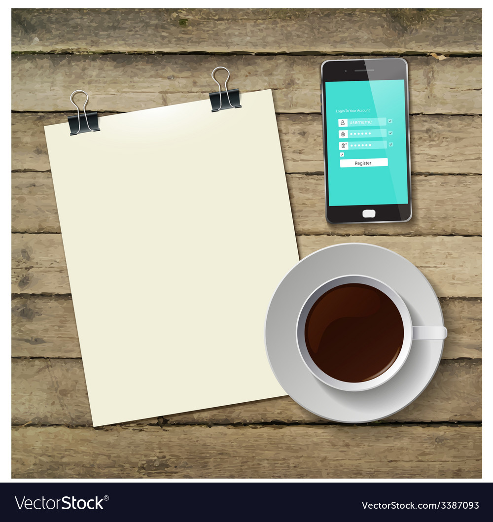 Coffee cup with abstract tablet vector | Price: 1 Credit (USD $1)
