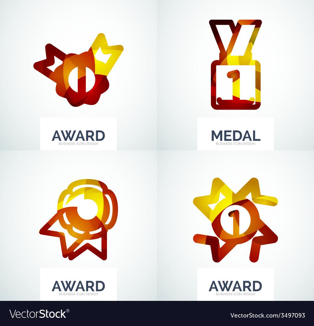 Colorful award business logo set vector   Price: 1 Credit (USD $1)