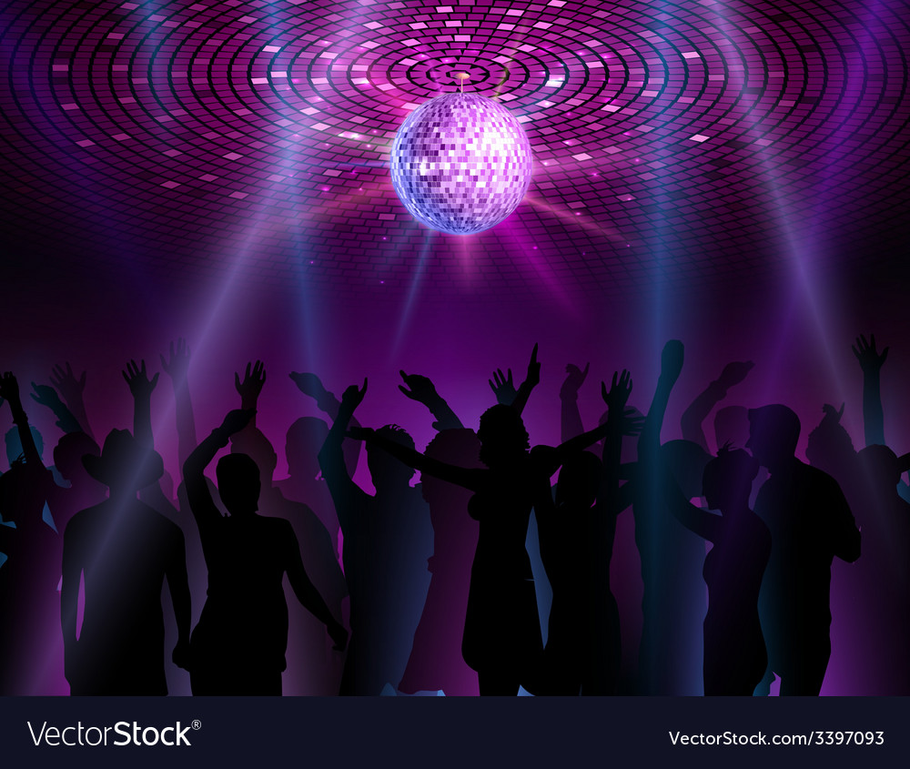 Disco ball background dancing people vector | Price: 3 Credit (USD $3)