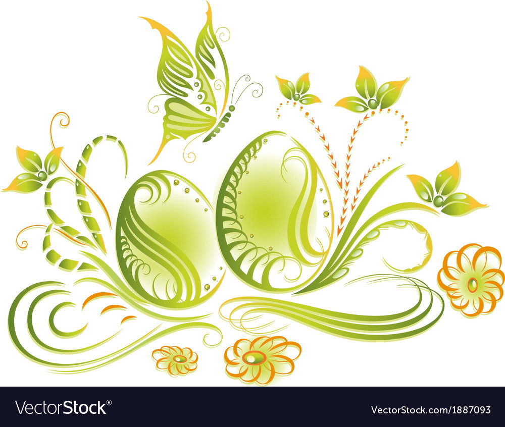 Easter eggs spring flowers vector   Price: 1 Credit (USD $1)