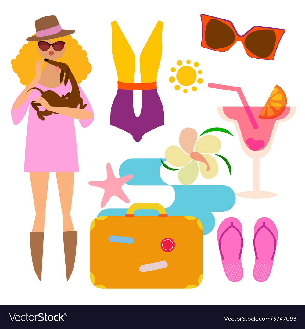 Fashionable woman on vacations vector | Price: 1 Credit (USD $1)