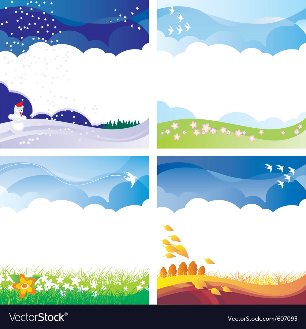 Four season backgrounds set vector | Price: 1 Credit (USD $1)