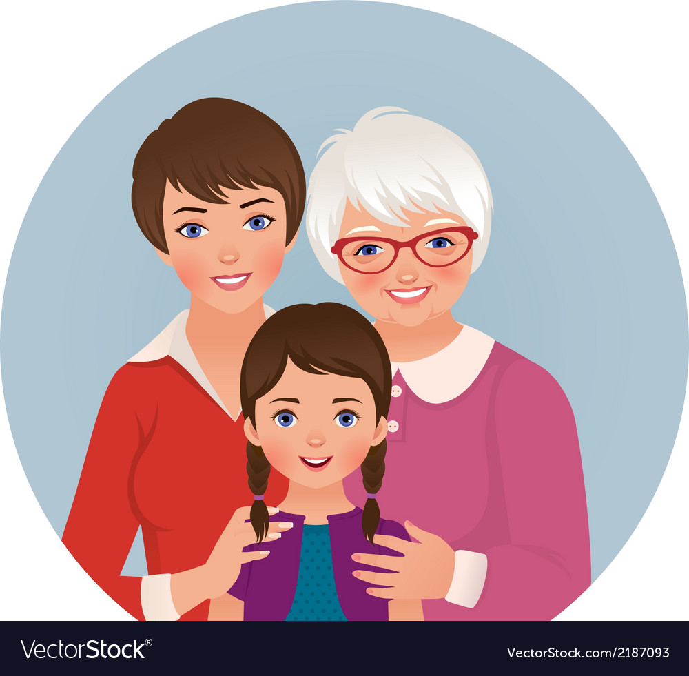 Grandmother mother and daughter vector | Price: 1 Credit (USD $1)