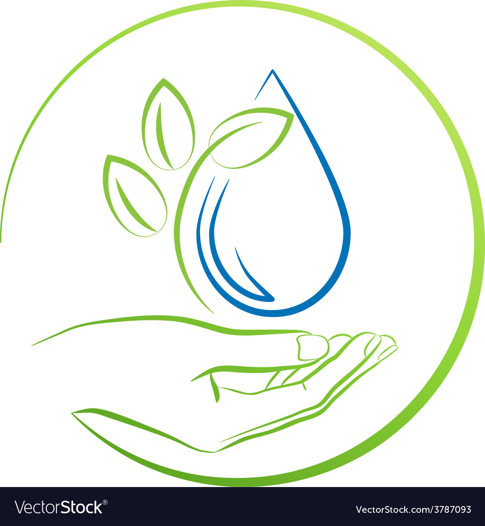 Hand leaf and water drop concept vector | Price: 1 Credit (USD $1)