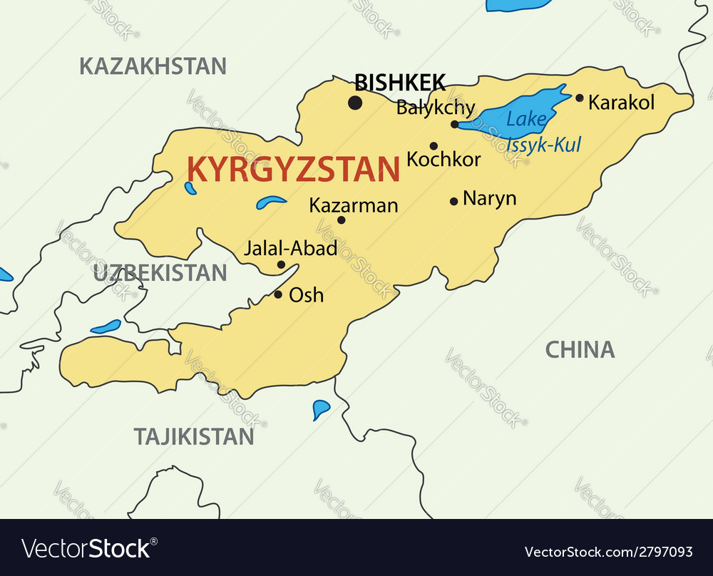 Kyrgyz republic - kyrgyzstan - map vector | Price: 1 Credit (USD $1)