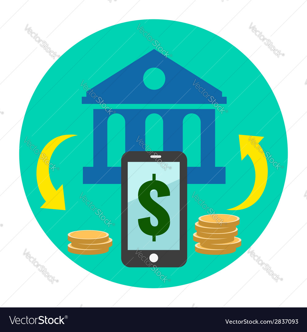 Mobile banking icon flat style isolated in vector | Price: 1 Credit (USD $1)