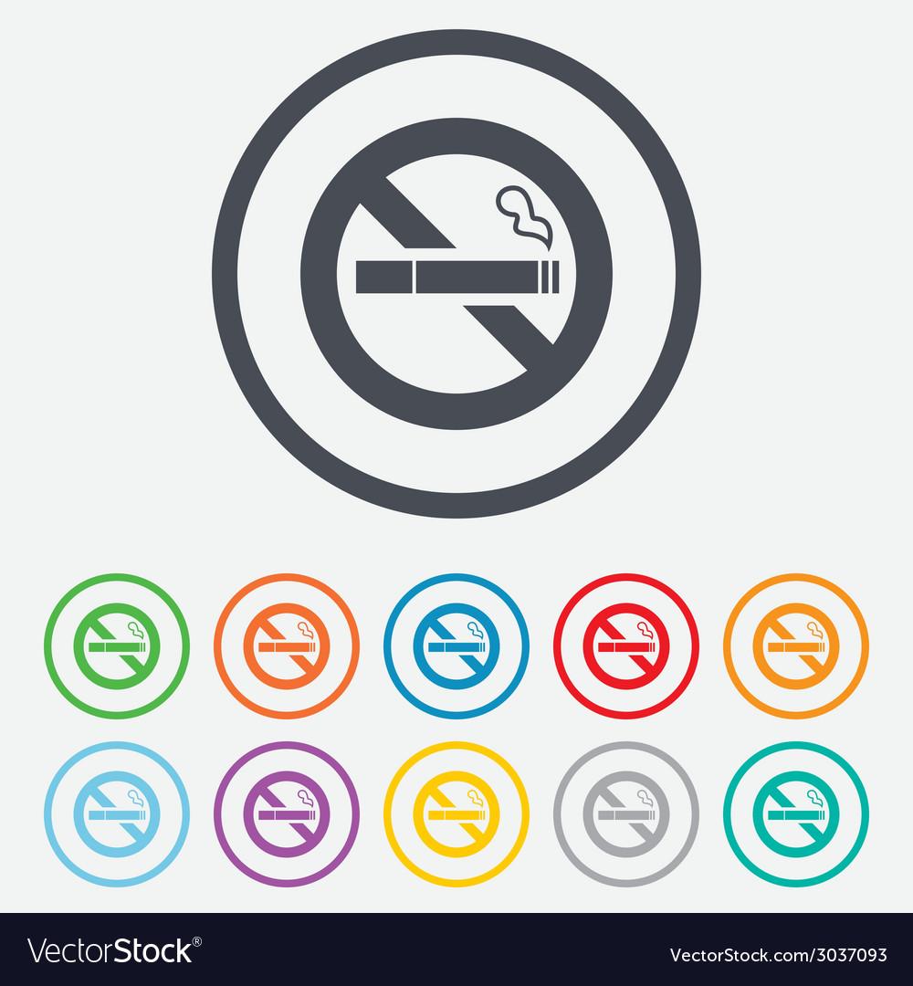 No smoking sign icon cigarette symbol vector | Price: 1 Credit (USD $1)
