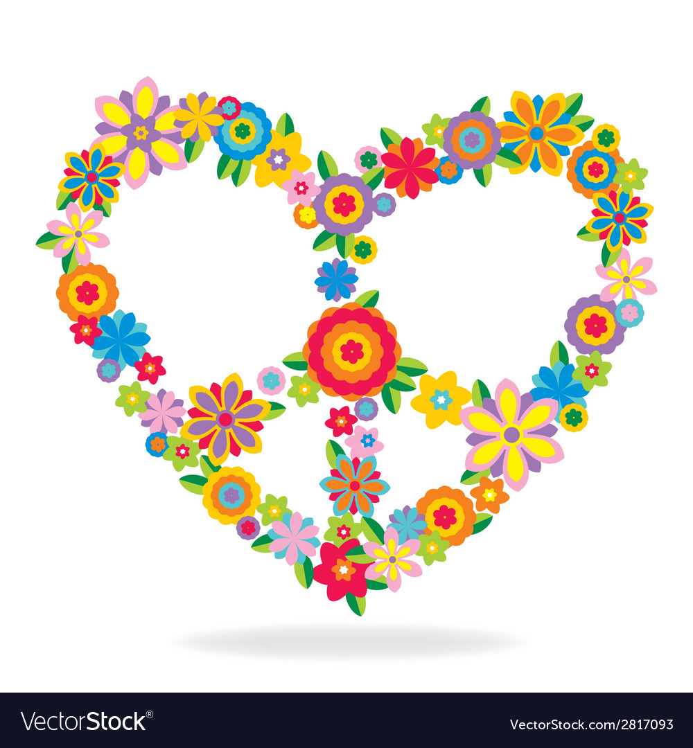 Peace heart sign made of flowers vector | Price: 1 Credit (USD $1)