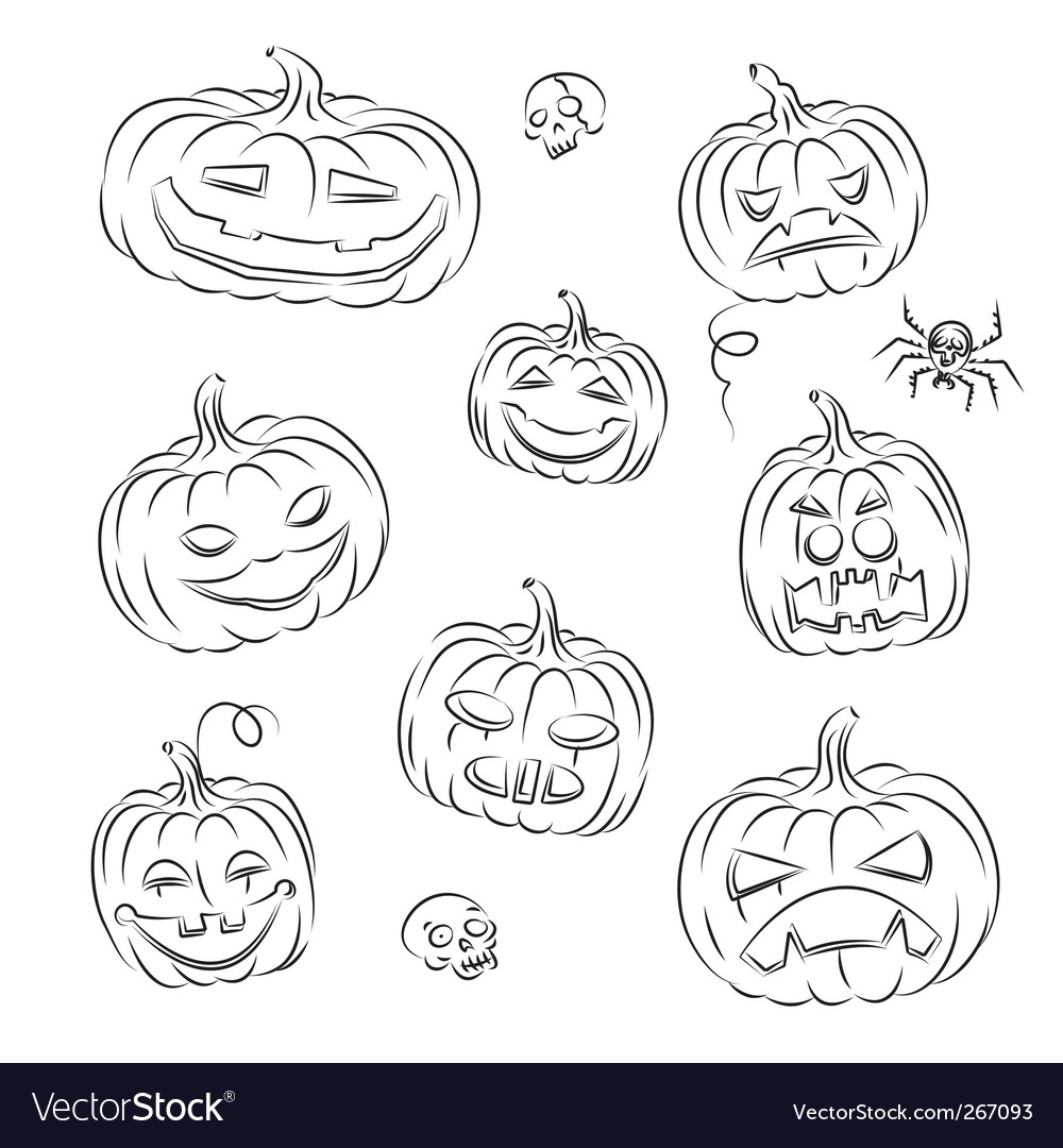 Pumpkins sketched vector | Price: 1 Credit (USD $1)