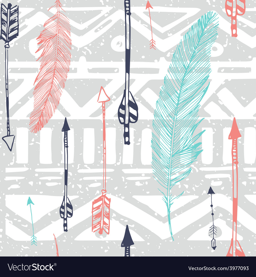 Seamless aztec tribal pattern with feather and vector | Price: 1 Credit (USD $1)