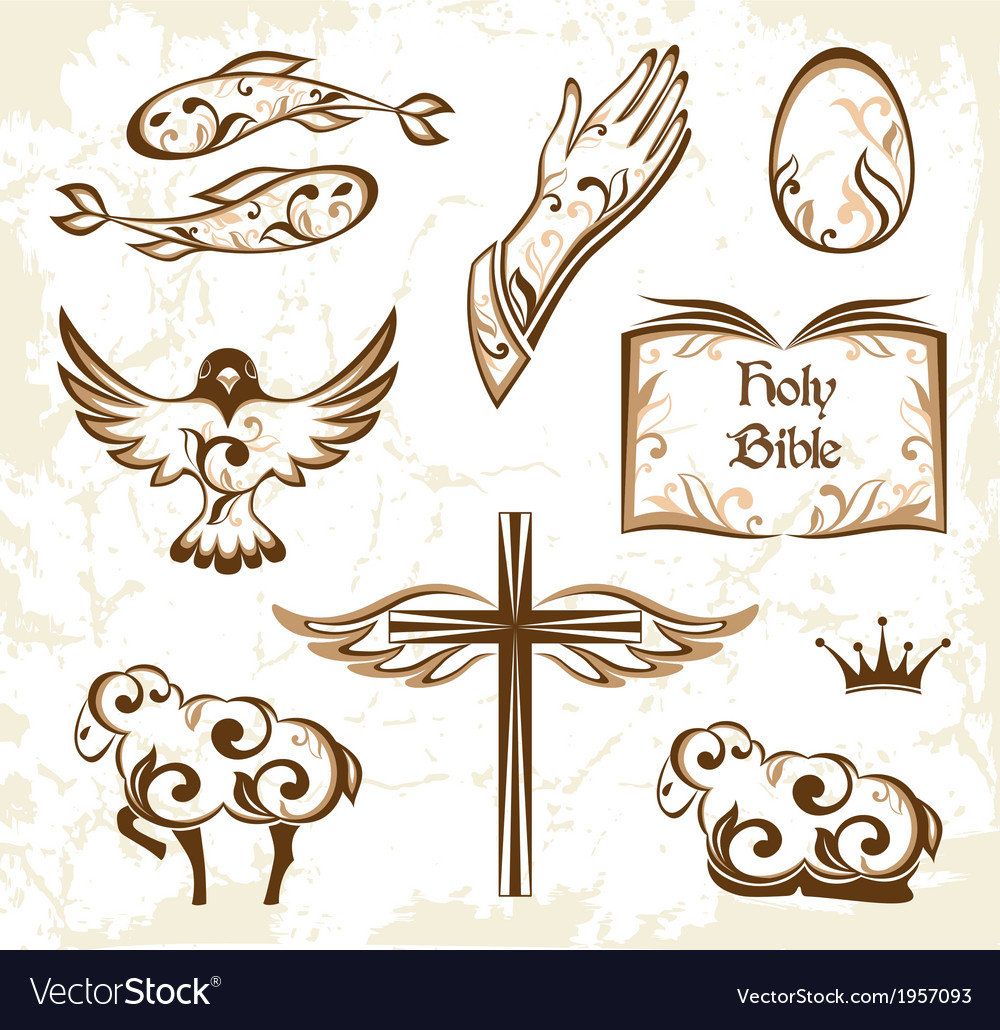 Set of decorative holy easter elements vector | Price: 1 Credit (USD $1)