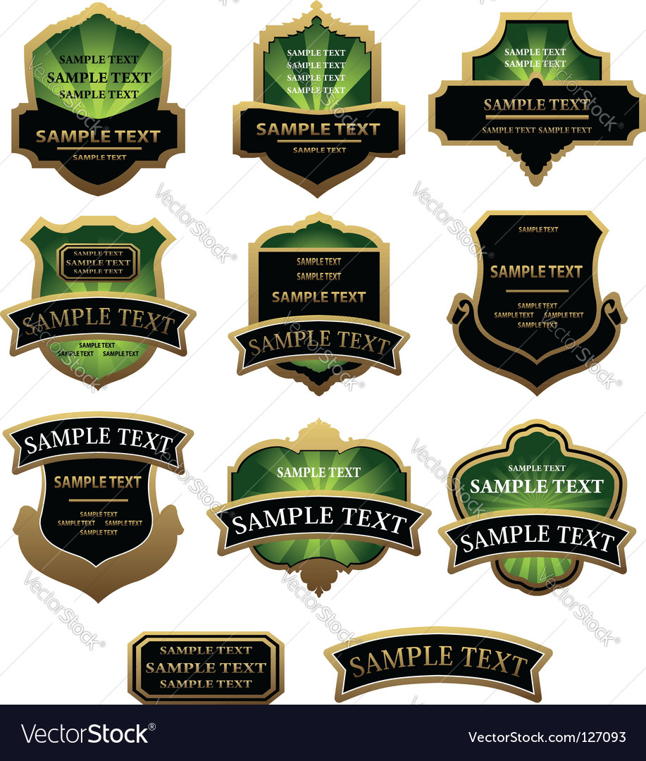 Set of green and golden labels vector