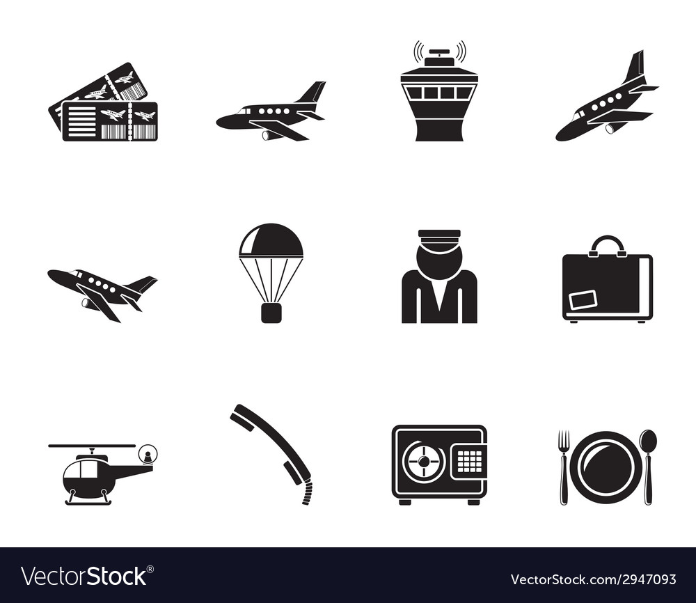 Silhouette airport and travel icons vector | Price: 1 Credit (USD $1)