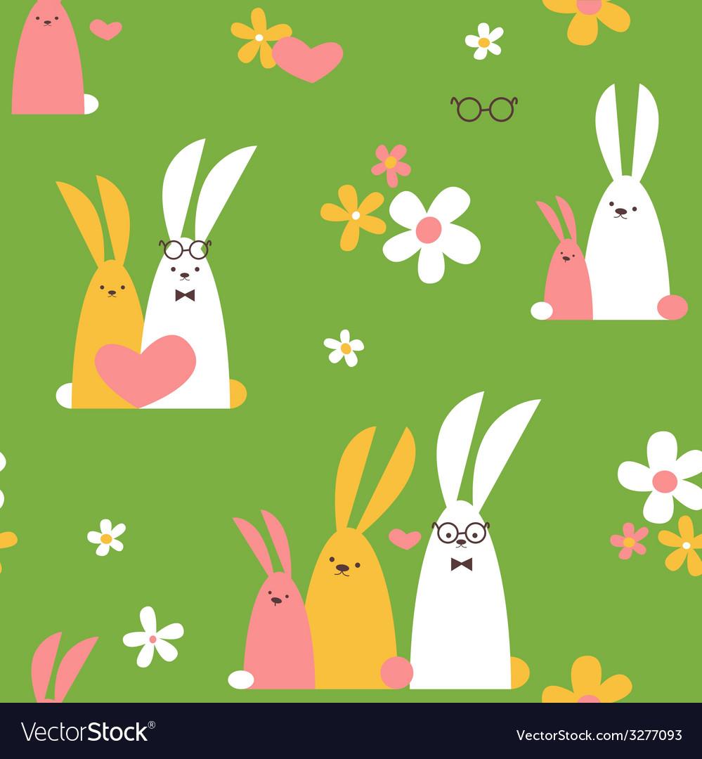Summer rabbits seamless pattern vector | Price: 1 Credit (USD $1)