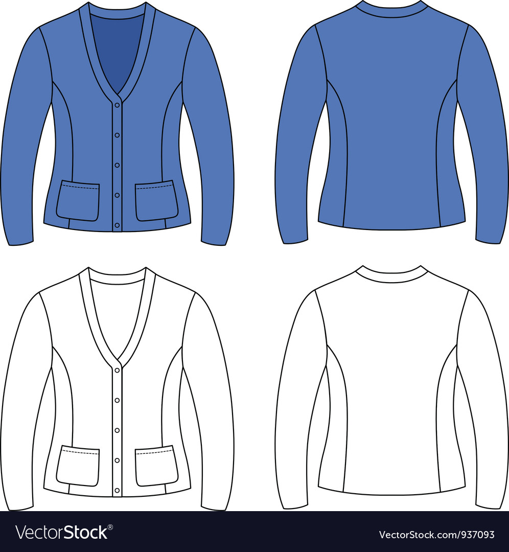 Template outline blank woman jacket vector | Price: 1 Credit (USD $1)