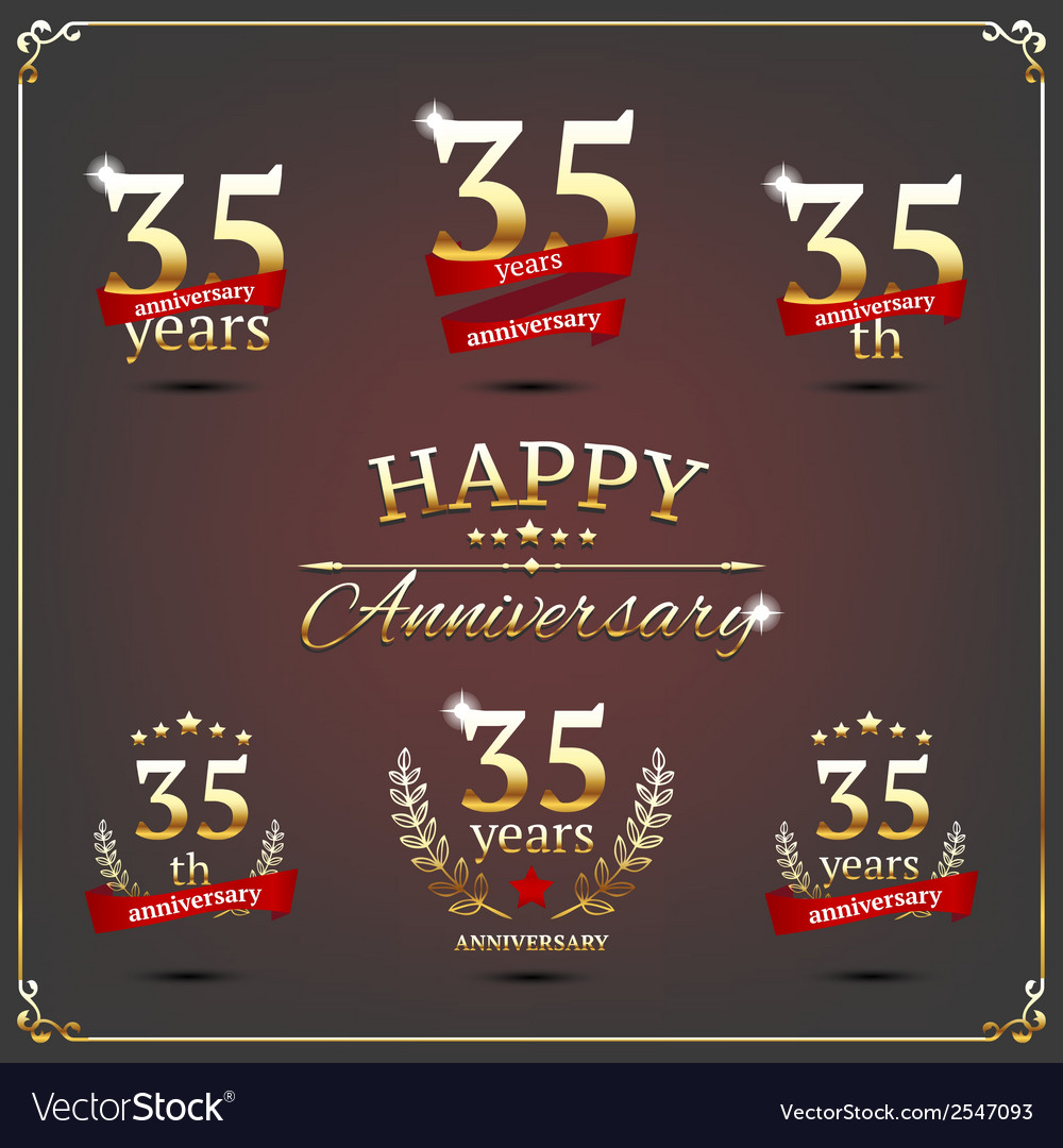 Thirty five years anniversary signs collection vector | Price: 1 Credit (USD $1)