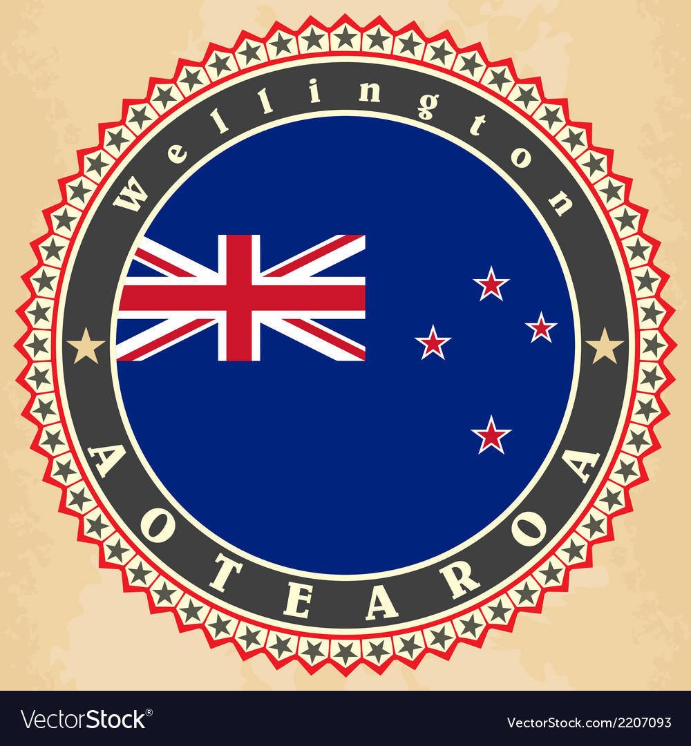 Vintage label cards of new zealand flag vector | Price: 1 Credit (USD $1)