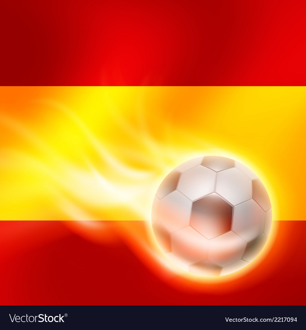 Burning football on spain flag background vector | Price: 1 Credit (USD $1)