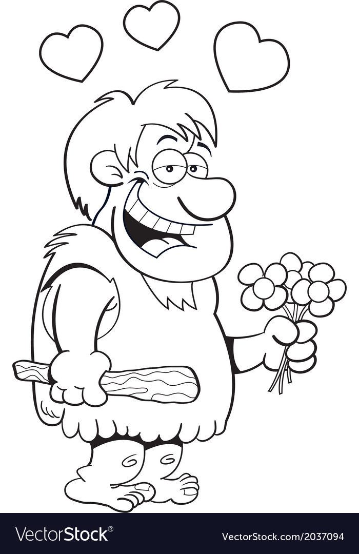 Cartoon caveman with flowers vector | Price: 1 Credit (USD $1)