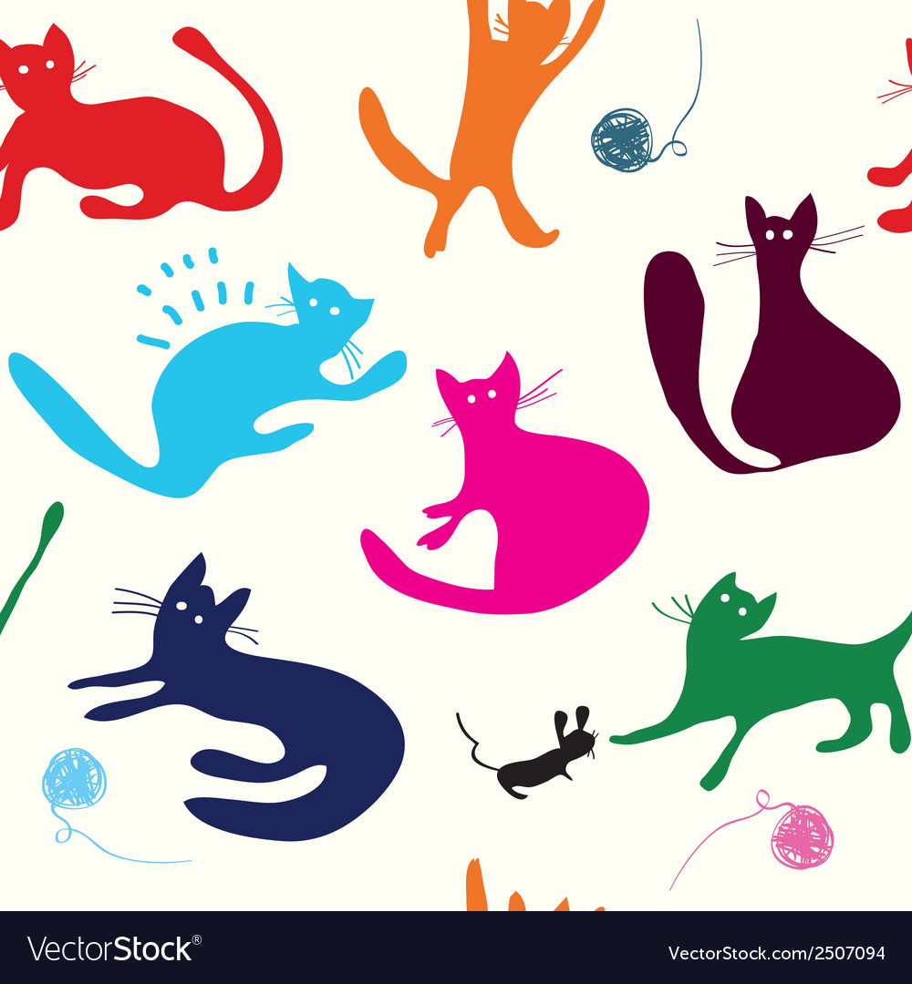 Cats playing seamless pattern funny vector | Price: 1 Credit (USD $1)