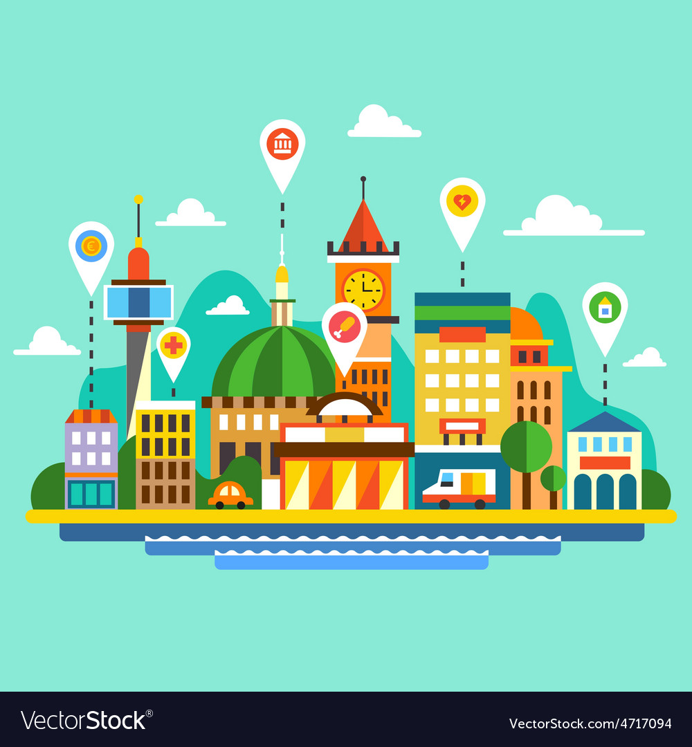 City landscape vector | Price: 3 Credit (USD $3)