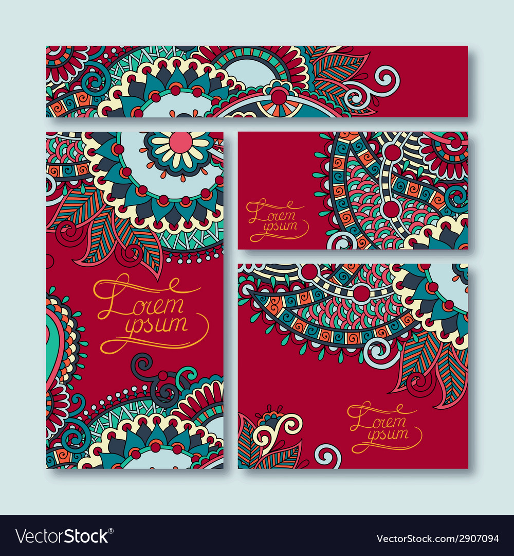 Collection of decorative floral greeting cards vector | Price: 1 Credit (USD $1)