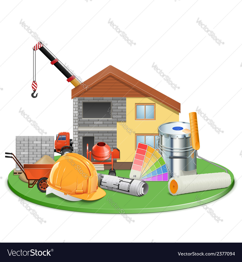Cottage construction vector | Price: 3 Credit (USD $3)