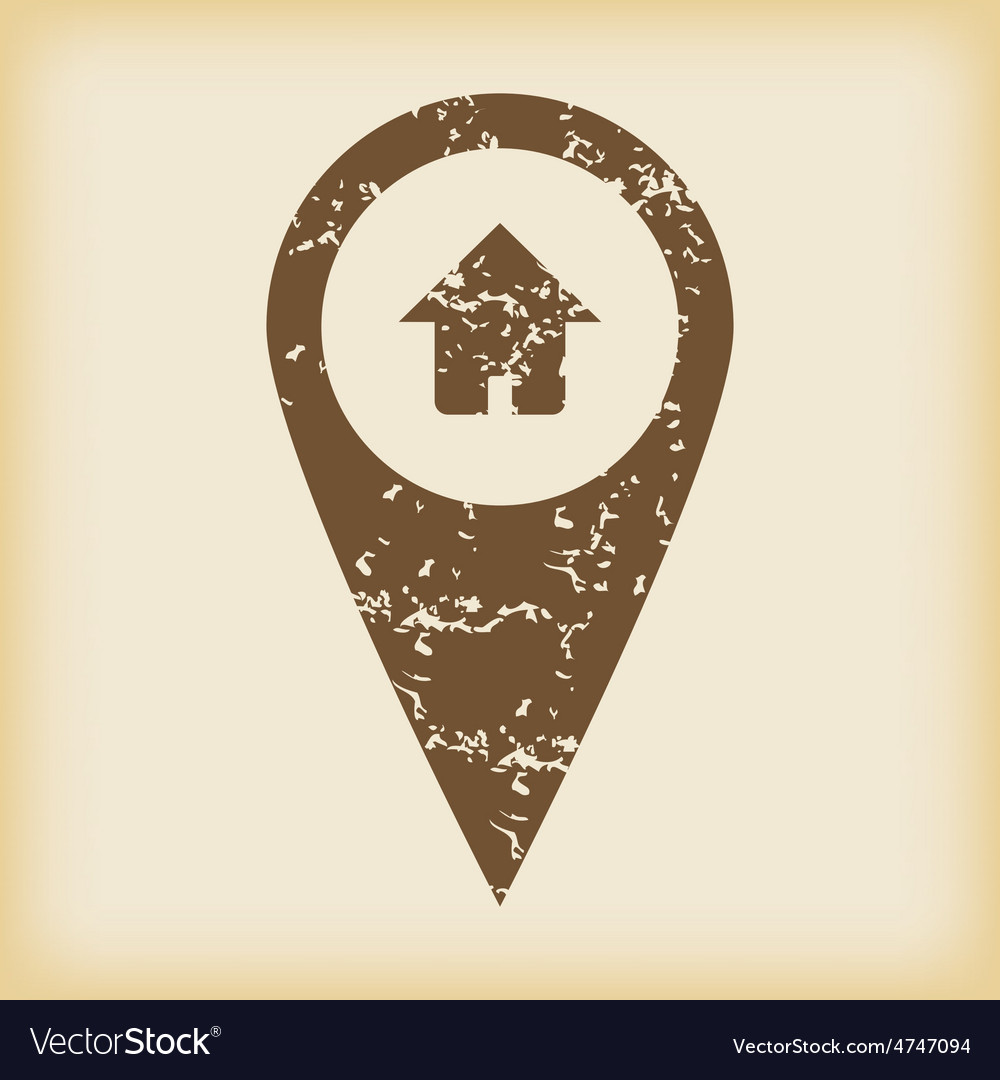 Grungy house pointer icon vector | Price: 1 Credit (USD $1)