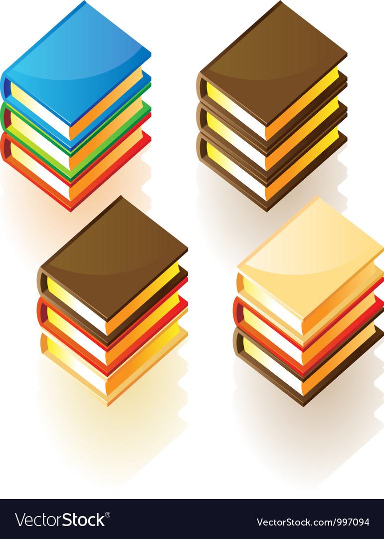 Isometric icons of stacked books vector | Price: 3 Credit (USD $3)