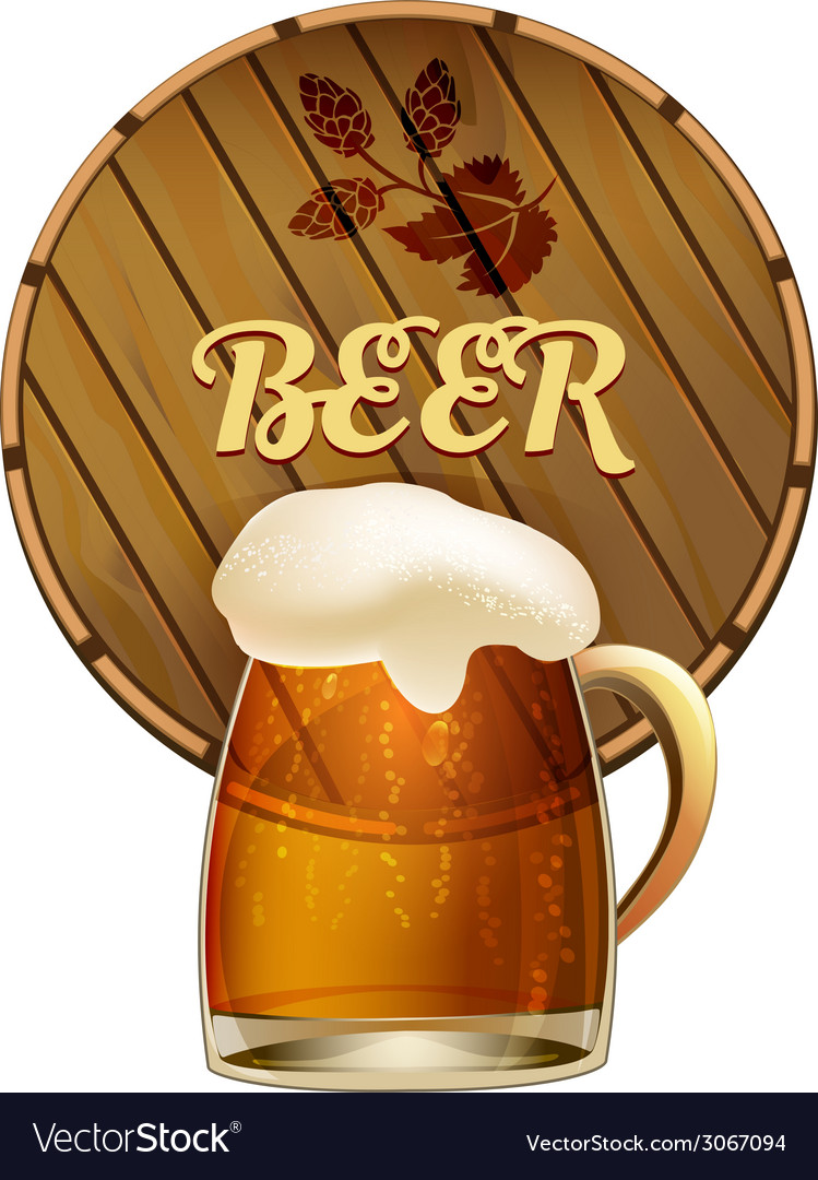 Mug of frothy beer with a barrel vector   Price: 1 Credit (USD $1)