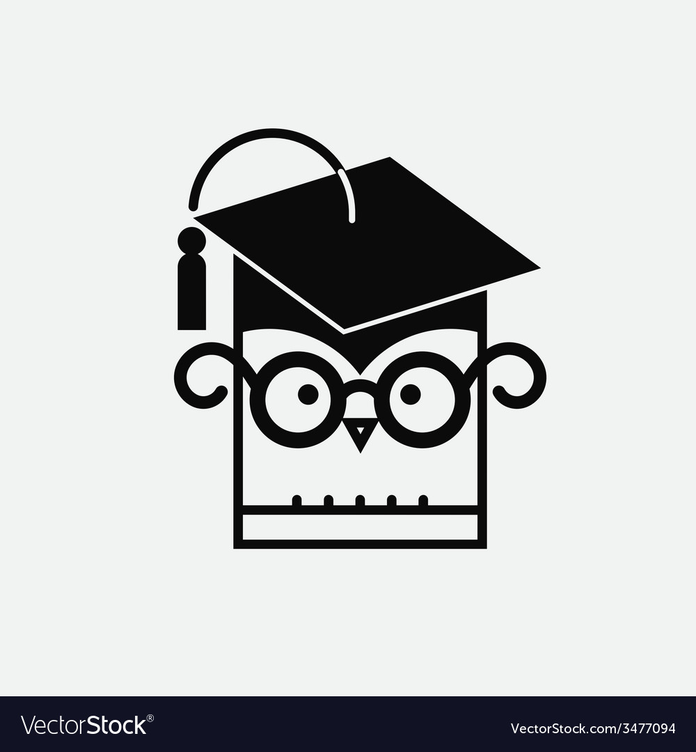 Owl with graduating hat vector | Price: 1 Credit (USD $1)