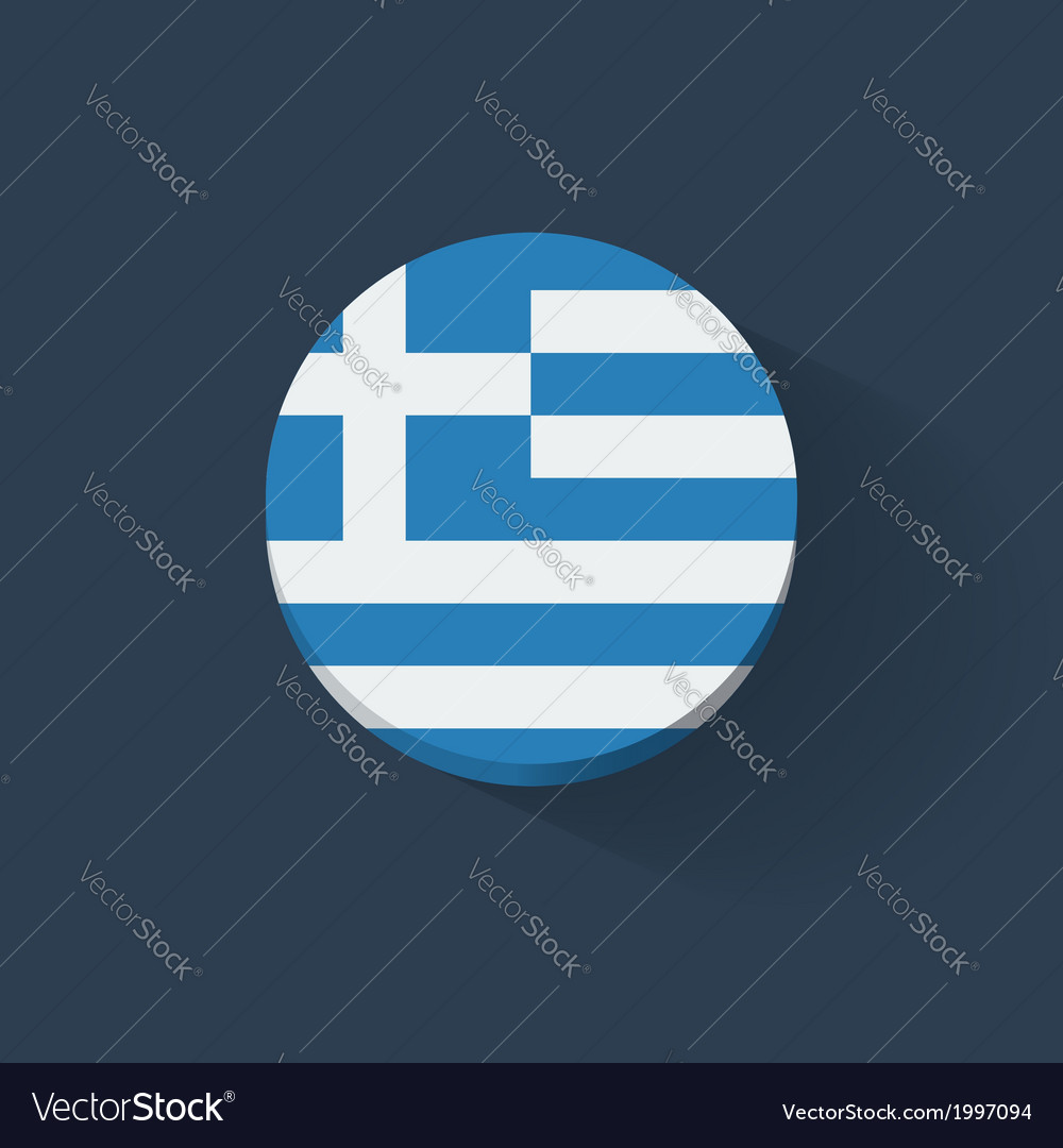 Round icon with flag of greece vector | Price: 1 Credit (USD $1)