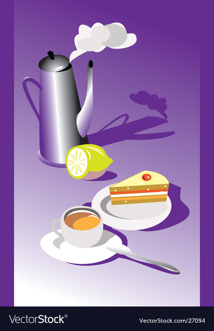 Teatime with cake and lemon vector | Price: 1 Credit (USD $1)