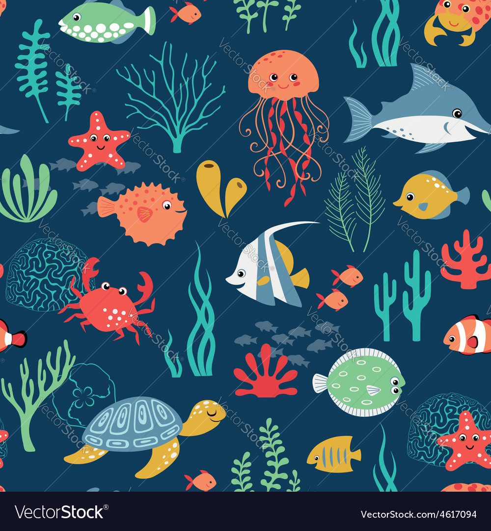 Undersea life pattern vector | Price: 1 Credit (USD $1)