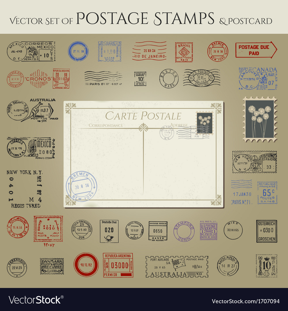 Vintage antique postcard and postage stamps vector | Price: 1 Credit (USD $1)