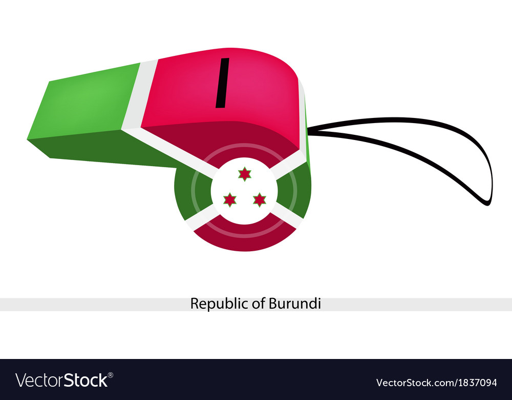 White red and green colors on burundi whistle vector | Price: 1 Credit (USD $1)