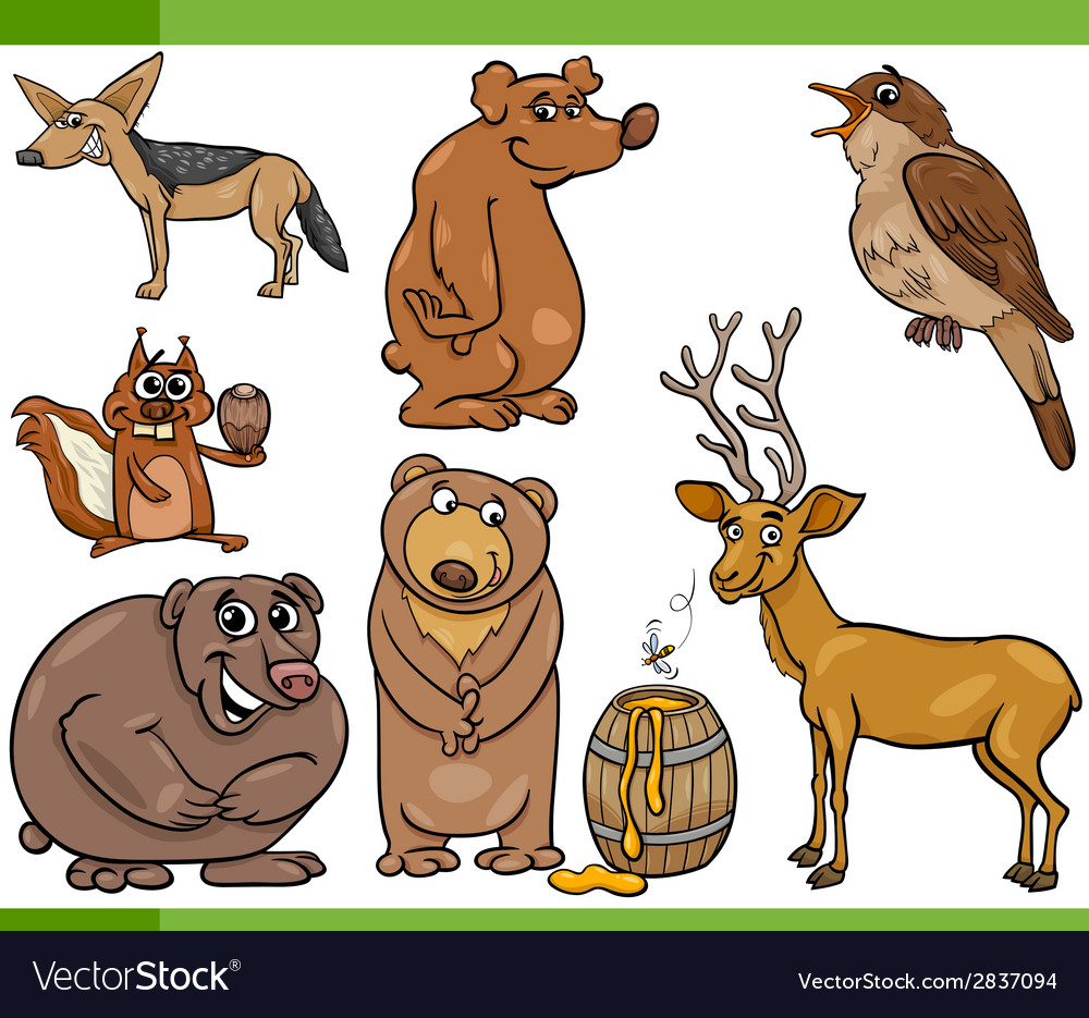 Wild animals cartoon set vector | Price: 1 Credit (USD $1)
