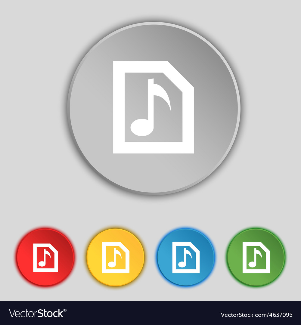 Audio mp3 file icon sign symbol on five flat vector | Price: 1 Credit (USD $1)
