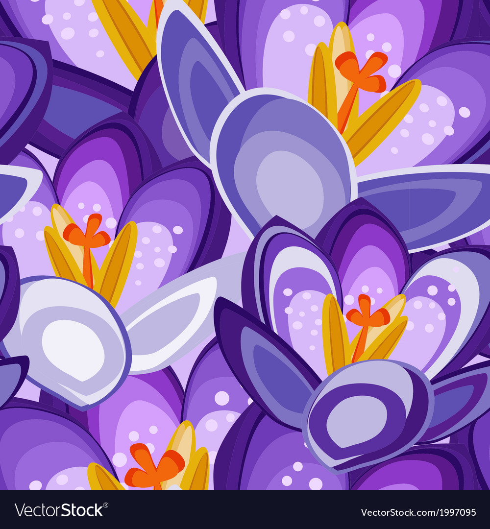 Crocus flower seamless background vector | Price: 1 Credit (USD $1)