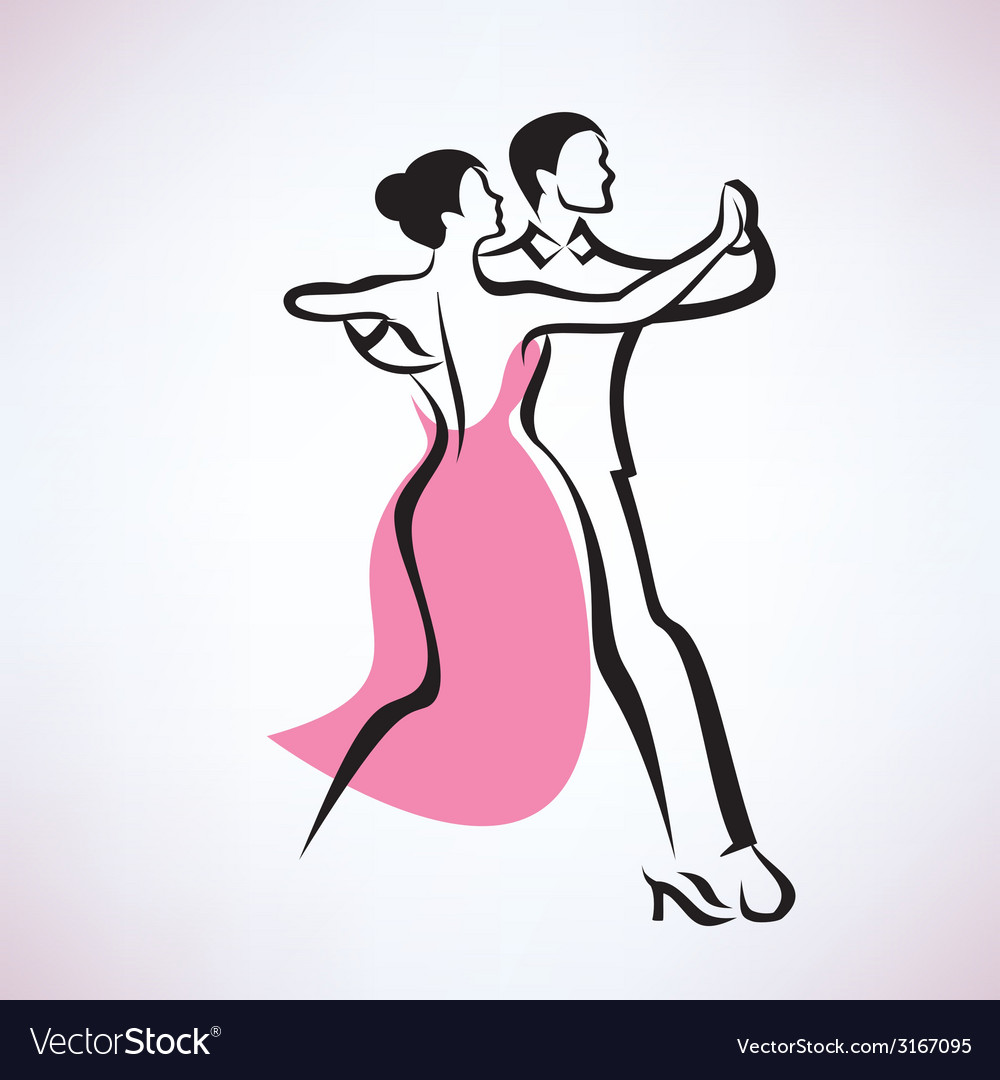 Dancing couple outlined sketch vector | Price: 1 Credit (USD $1)