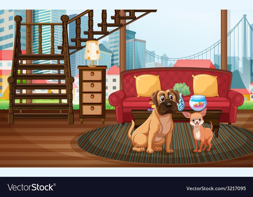 Dogs and living room vector | Price: 3 Credit (USD $3)