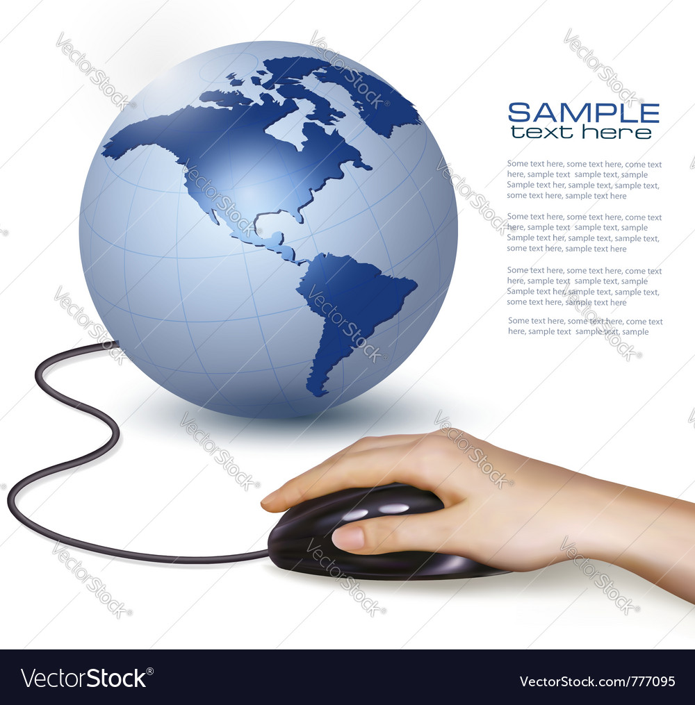 Hand with computer mouse and globe vector | Price: 3 Credit (USD $3)