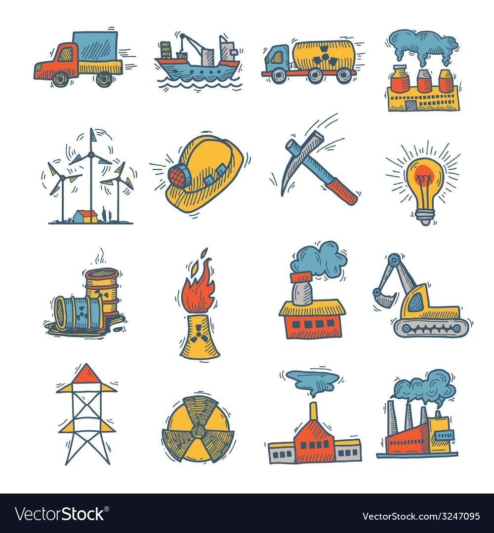 Industrial sketch icon set vector   Price: 1 Credit (USD $1)