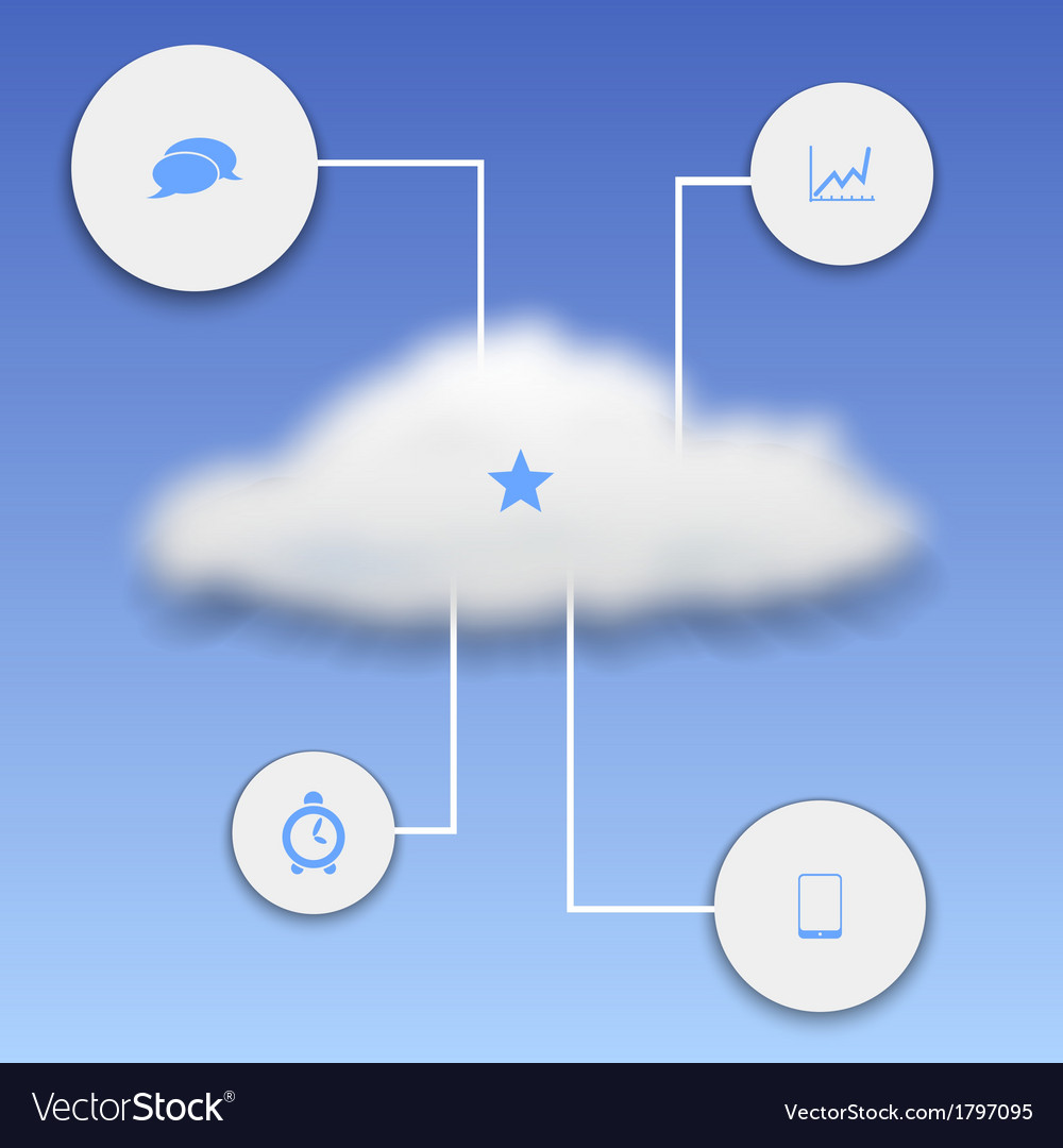 Realistic cloud with elements of infographics vector | Price: 1 Credit (USD $1)