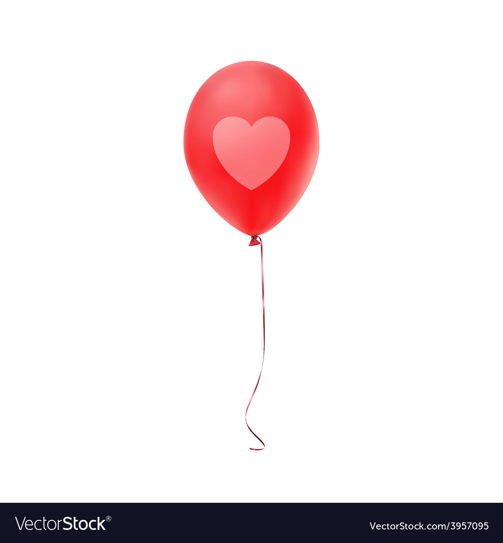 Red balloon with heart print isolated on white vector | Price: 1 Credit (USD $1)