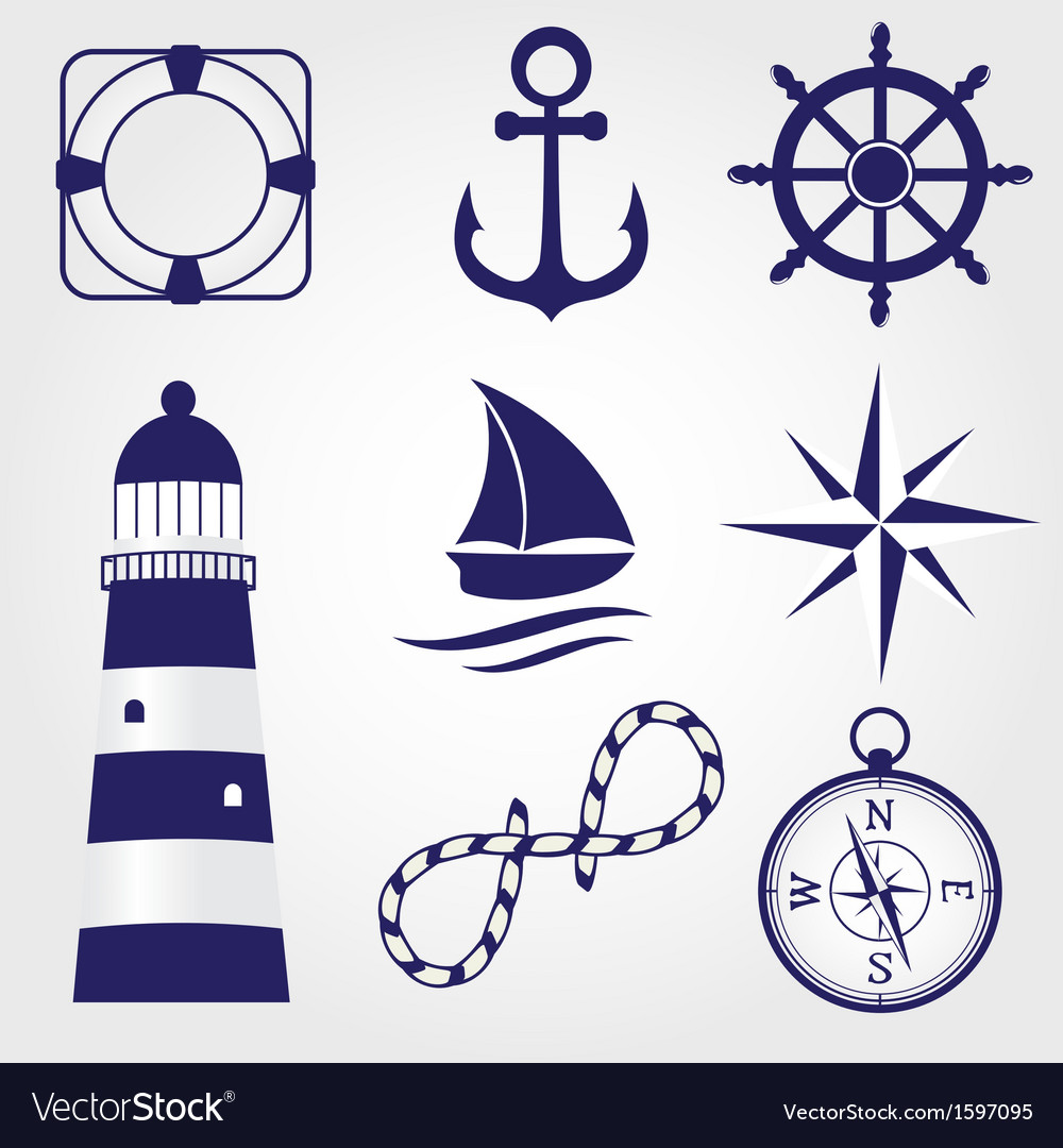 Set of vintage nautical labels icons and design vector | Price: 1 Credit (USD $1)